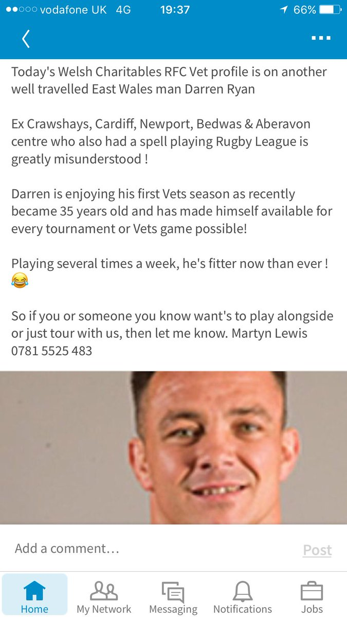Today&#39;s #Profile Ex @NewportRFC @bedwasrfc @Cardiff_RFC @AberavonRFC Centre Darren Ryan Welcome @WelshCharRFC #Vets10 #Rugbyfamily #charity<br>http://pic.twitter.com/XXLAB9DwCD