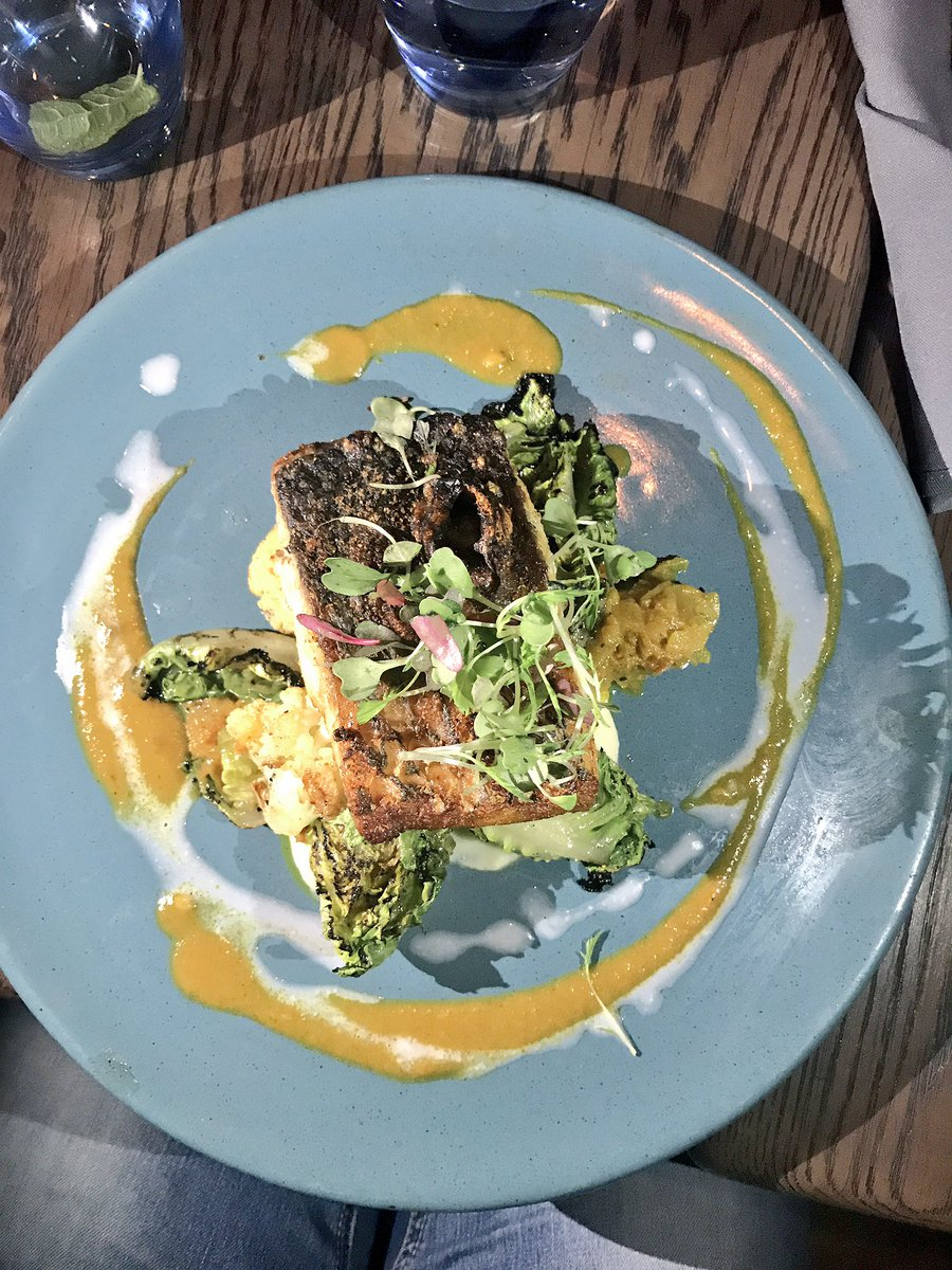 Pan Fried Sea Bass Chargrilled Baby Gem Almond & Cauliflower Purée Coconut Garam Masala Sauce  #LaurasWorldXBRC @BRdCollection @ZomatoSA https://t.co/24GG8vIk87