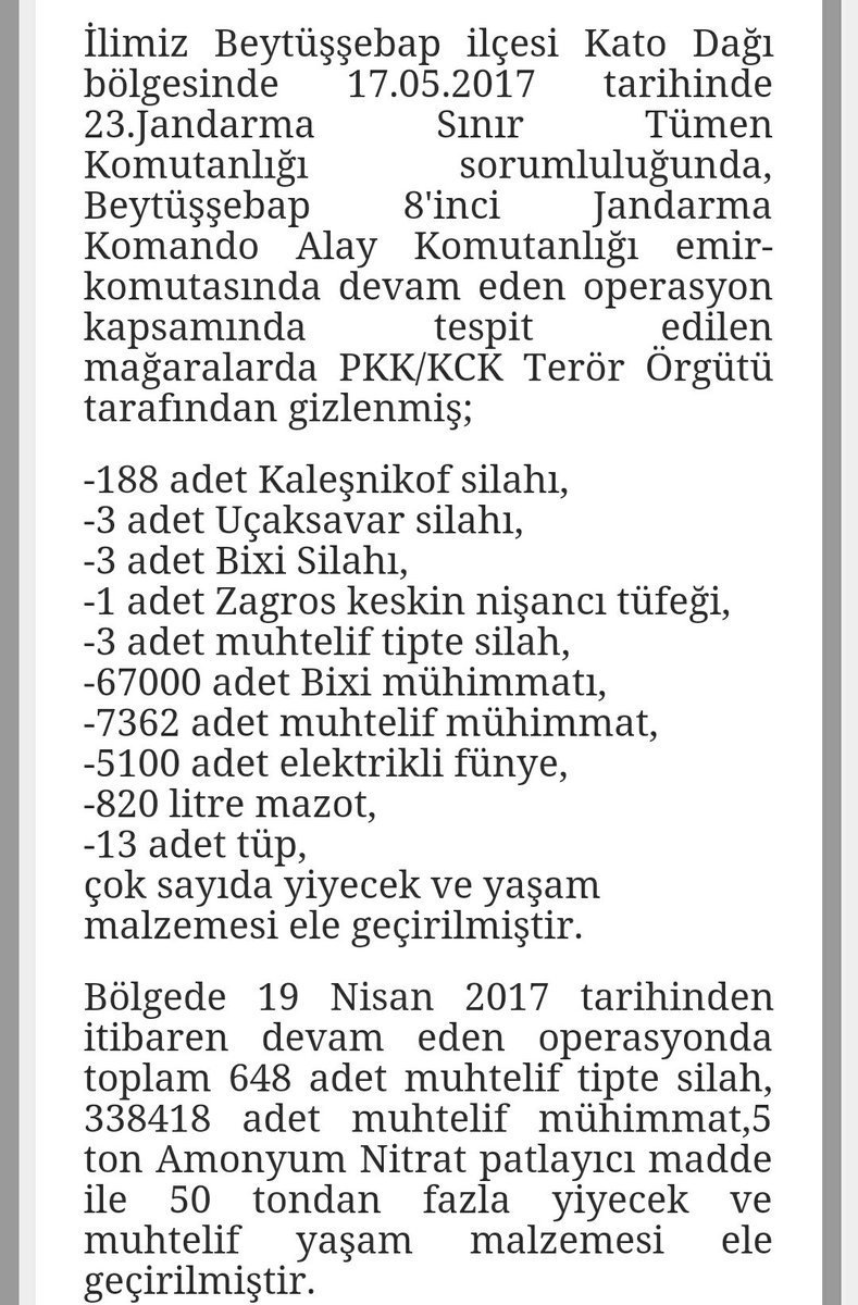188 AK-47, 3 anti-aircraft weapons, 3 PK machine guns and more than 50.000+ ammunitions found in a PKK cave by Turkish soldiers.
