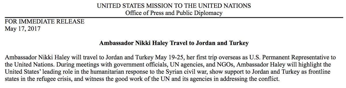 UN Amb. @nikkihaley to travel to Jordan and Turkey for her first overseas trip.