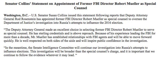 Susan Collins praises selection of special counsel. Also notes Senate will continue its own investigation.