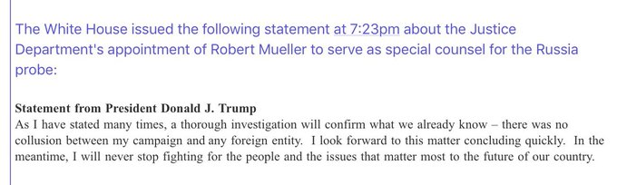 Trump statement: 'There was no collusion between my campaign and any foreign entity. I look forward to this matter concluding quickly.'