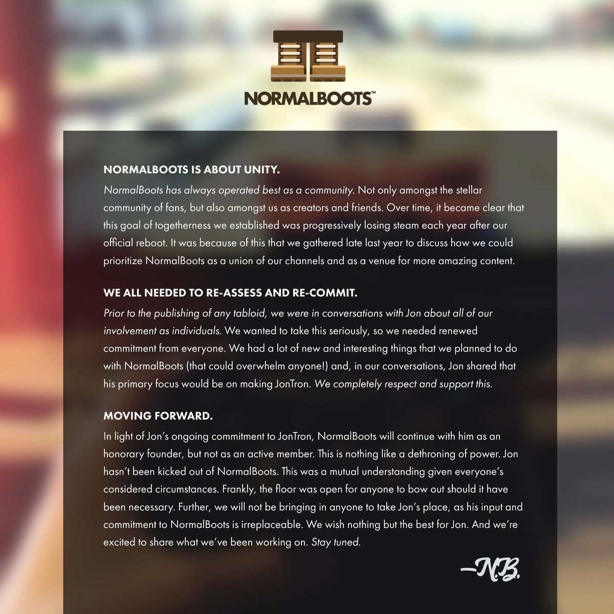Hey everyone - Here's an announcement regarding the future of NormalBoots https://t.co/4gkNWaJ1ey