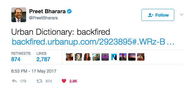 Preet Bharara appears to troll Trump by tweeting definition of 'backfired' after praising special prosecutor hill.cm/2TUWhub
