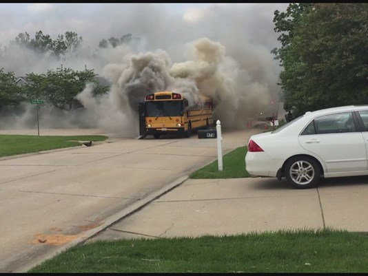 Back of bus catches fire with 40+ kids on board https://t.co/zxDz8Uxzfg