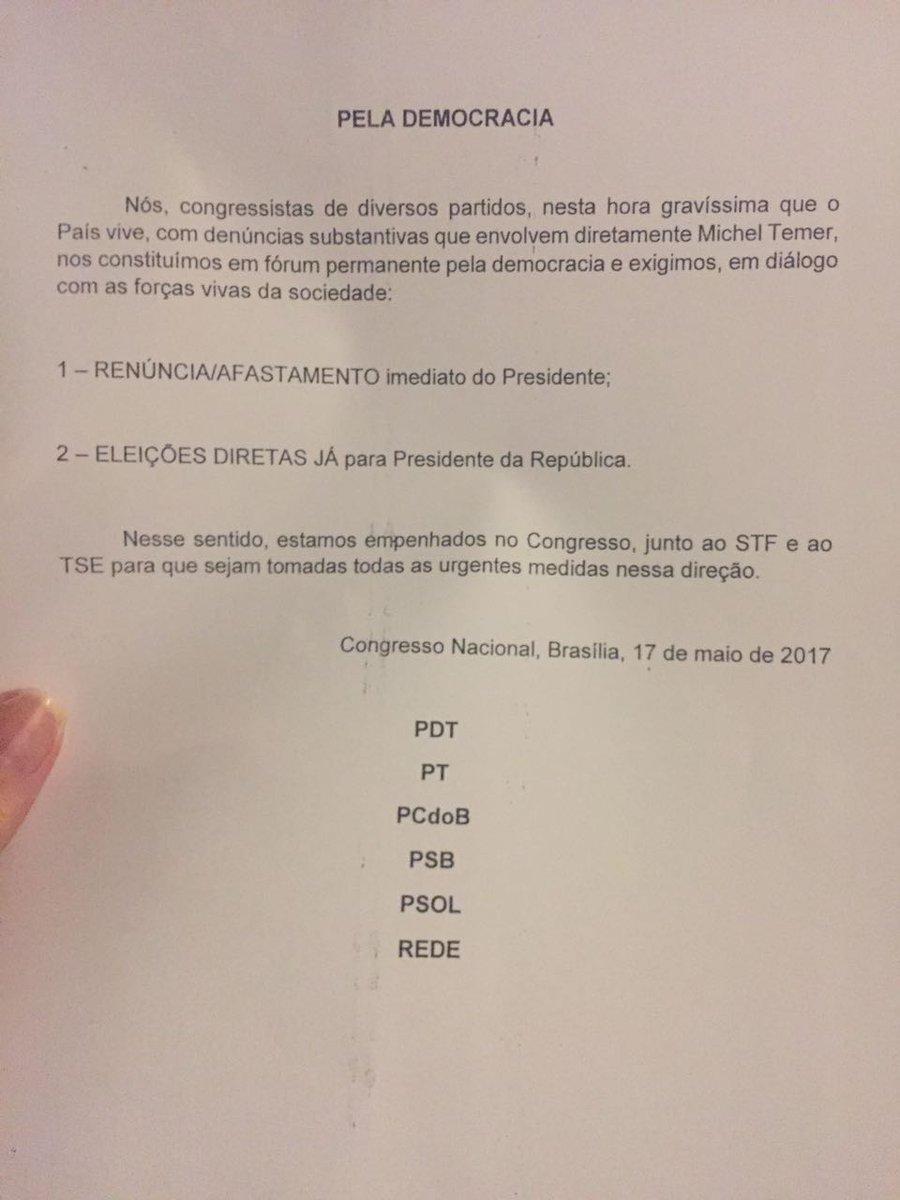 A nota de partidos da oposição pedindo a renúncia do presidente Michel Temer e antecipação das eleições diretas:
