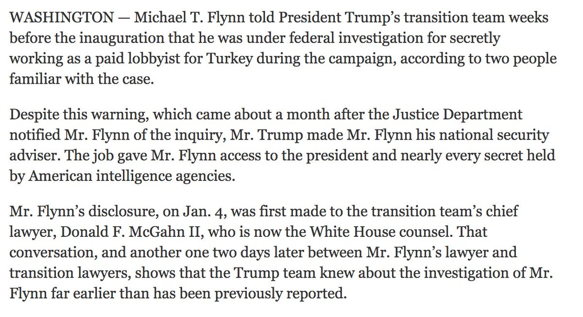 They knew: The Trump transition team, led by Mike Pence and Don McGahn, were told Mike Flynn was under investigation ... BY Michael Flynn.