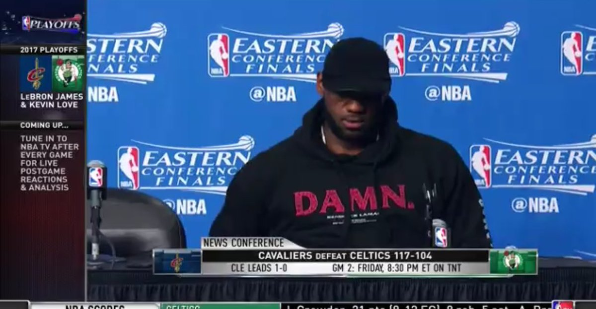 LeBron James with the #DAMN hoodie! <br>http://pic.twitter.com/qThhQZXV3K