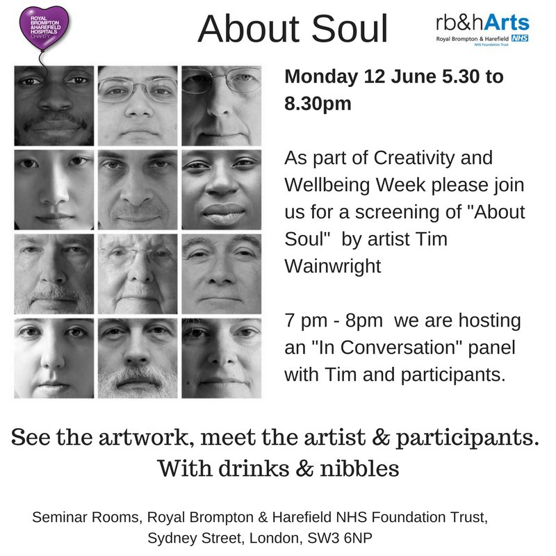 Join us 12 June for a special screening and discussion #AboutSoul @tjwimages RSVP to attend reception  #CreativityAndWellBeingWeekpic.twitter.com/YXCIvzpN1u