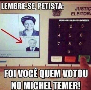 Caros petistas e genéricos: eleição é venda casada: se vc votou na Dilma, votou no Temer!  Não terceirize sua culpa no processo eleitoral 😅😅