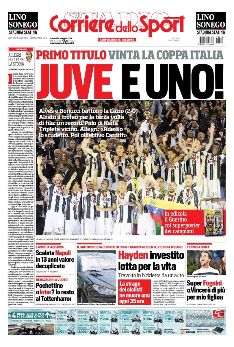 Front page of #CdS:  -First: #TIMCup won  -#Juve &amp; there&#39;s 1!  -#Alves/#Bonucci beat #Lazio[2-0]  -lifted for the 3rd time in a row:Record<br>http://pic.twitter.com/cm8MlfzNZj