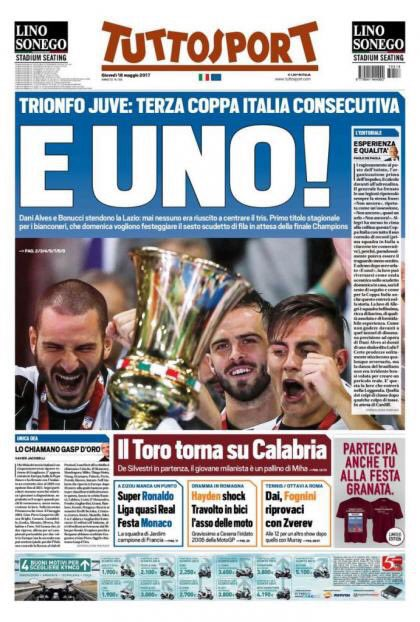 Front page of #TS:  -#Juve triumph: 3rd #TIMCup in a row  -And there&#39;s one!  -#Alves/#Bonucci KO #Lazio: nobody had ever won a hattrick of<br>http://pic.twitter.com/hpq1uSSqPQ