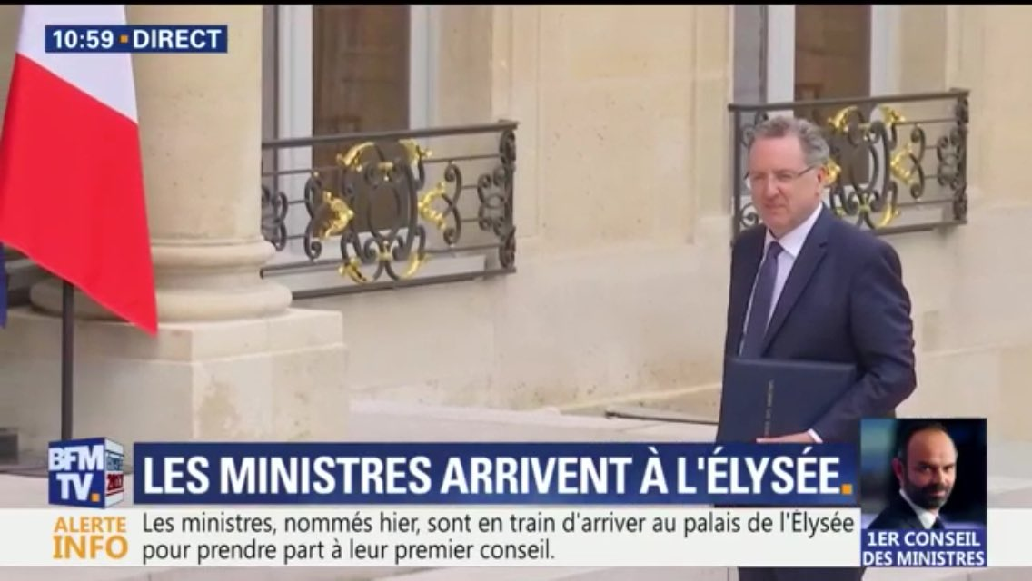 President #Macron&#39;s Ministers arrive at the @Elysee this morning for their first cabinet meeting. #Bayrou, #Flessel, @RichardFerrand<br>http://pic.twitter.com/kIymux0Cnf