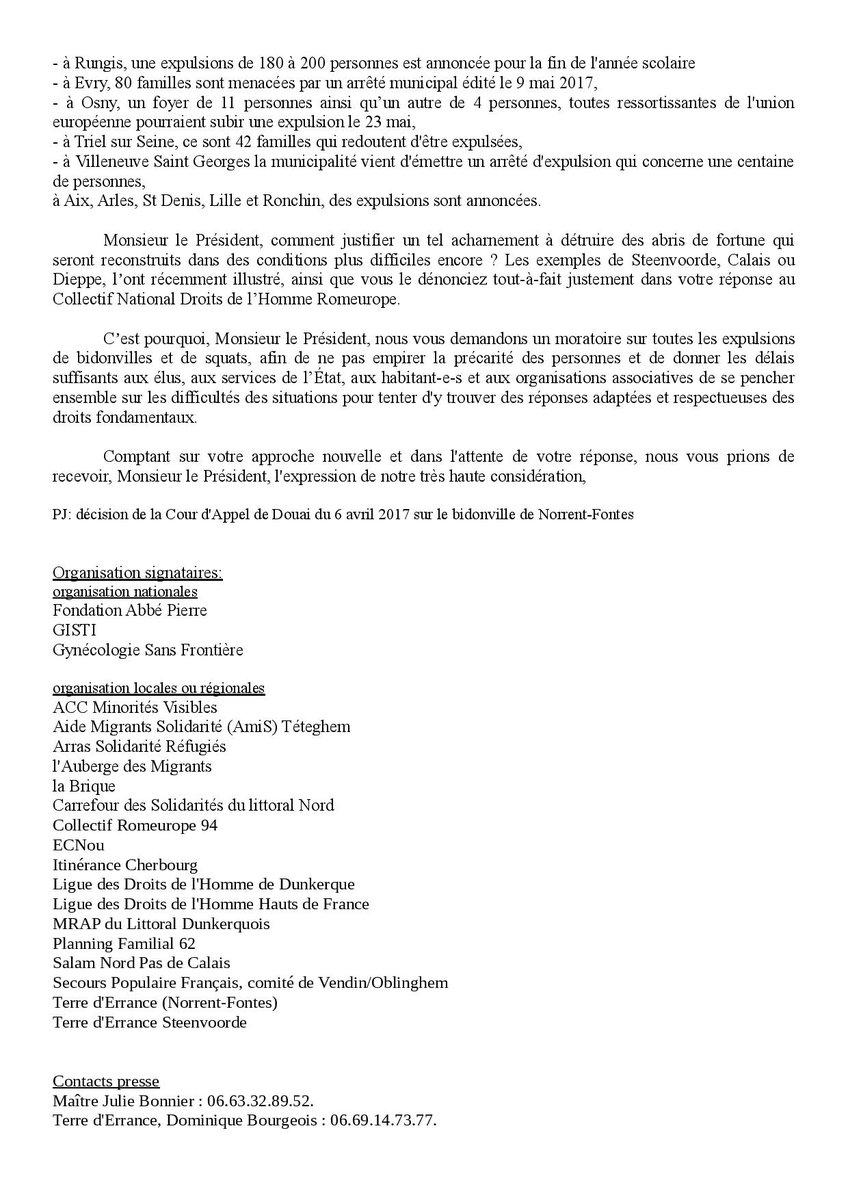 Cndh Romeurope على تويتر Lettre Ouverte De Terre Derrance
