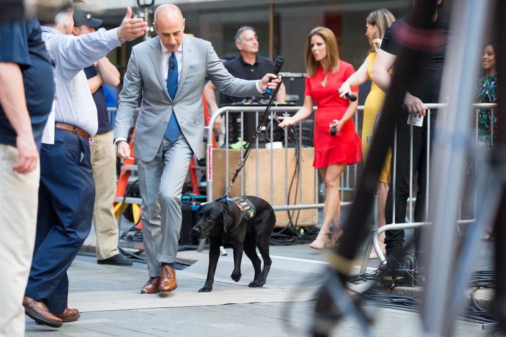 It\'s a beautiful day for a stroll with my friend, @MLauer! #TODAYPuppy