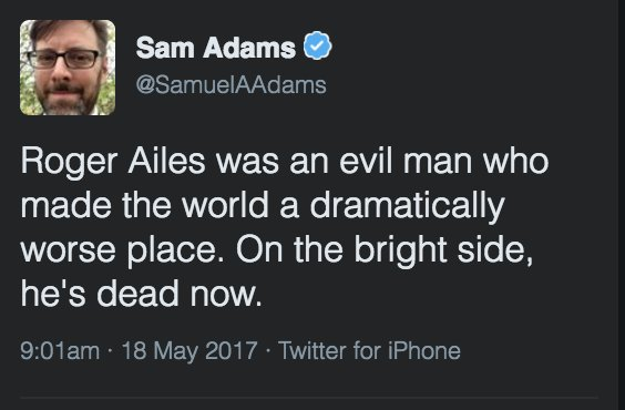 I do love it when subhuman swill merchants like @SamuelAAdams delete tweets. https://t.co/b8siCdfEKM