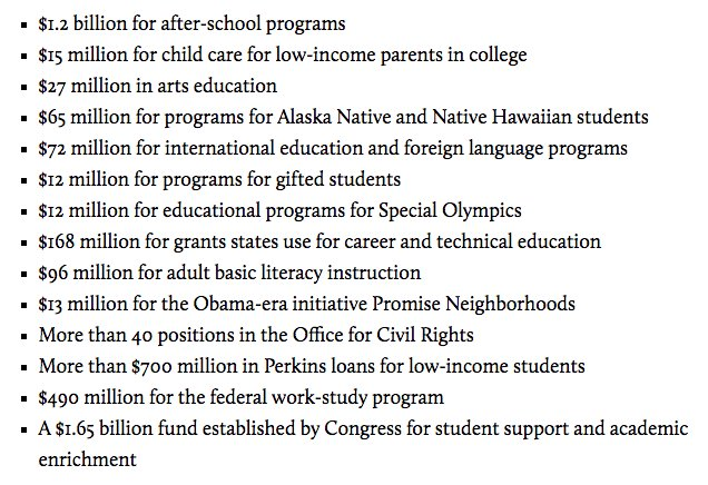 Here's a rough list of programs that would be cut under the Trump/DeVos education budget. https://t.co/BCD54zdMKp https://t.co/39vPKrEaqC