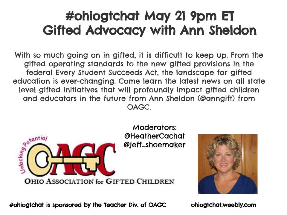 Thumbnail for #ohiogtchat May 21: Gifted Advocacy with Ann Sheldon