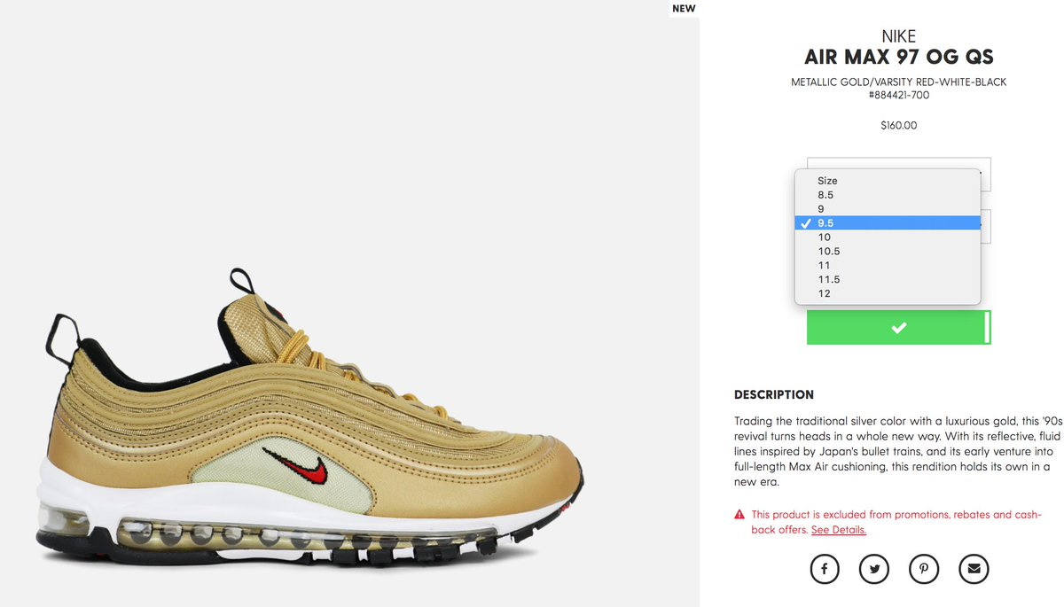 new concept 7d3aa 733b7 Nike Air Max 97 OG  Metallic Gold  http   bit.ly 2qndla8  http   bit.ly 2qndla8 pic.twitter.com XEsojPA7n0. 7 36 AM - 18 May 2017