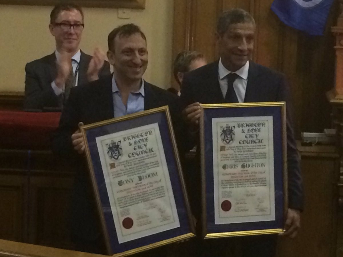 Congratulations from #brighton & #hove to Tony Bloom and Chris Hughton @OfficialBHAFC #proud #together #Freeman https://t.co/eFkgpvZ0t3
