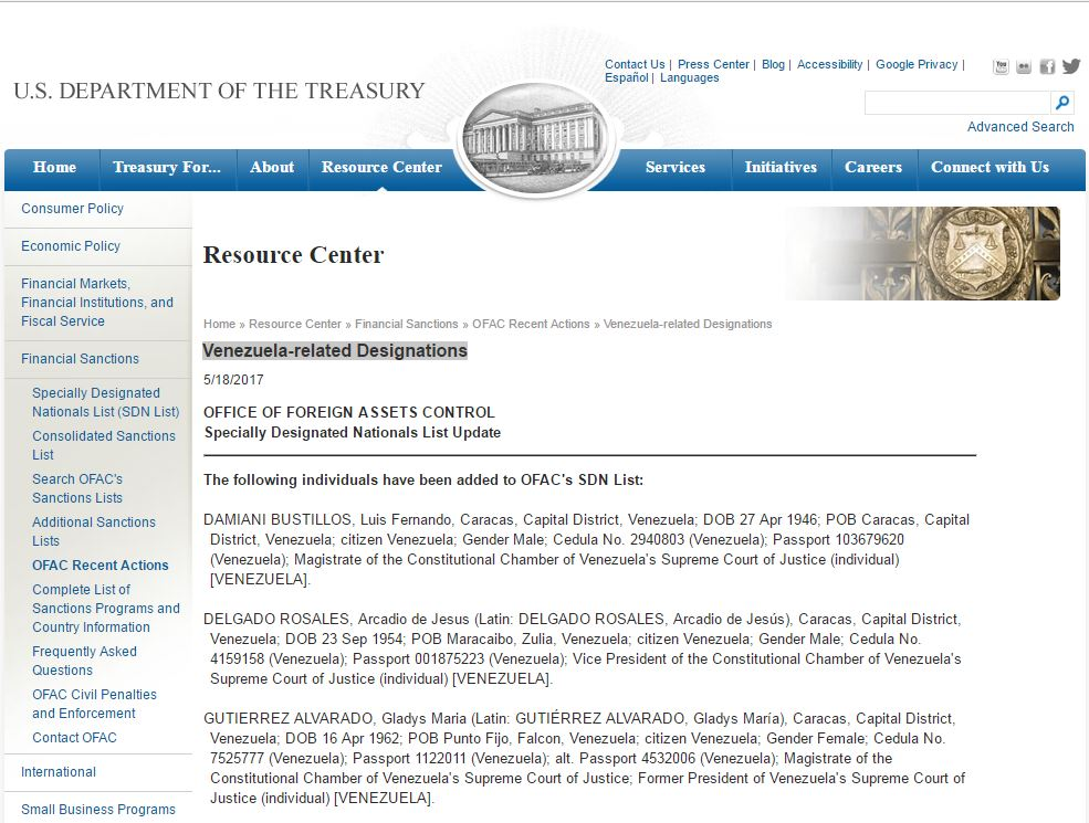 U.S. government officially imposed new sanctions on judges of the Supreme court of Venezuela