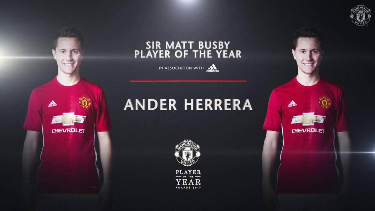 Well done to @AnderHerrera - the 2017 #MUFCPOTY, presented by @adidasfootball. 👍