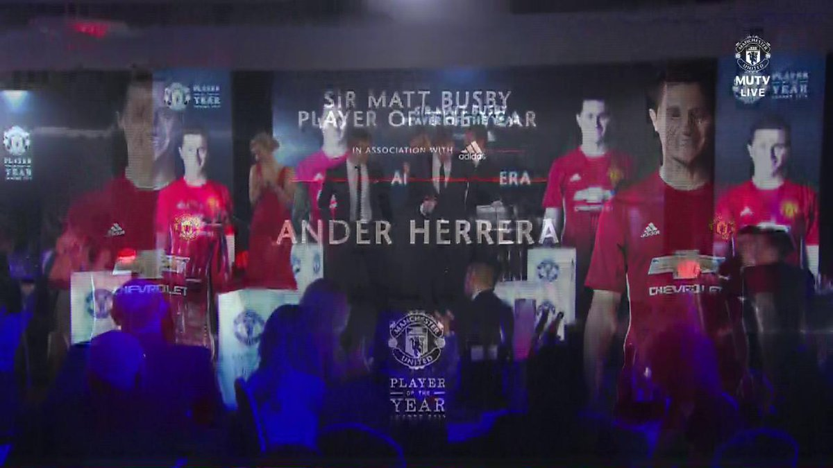 Reaction from the Sir Matt Busby Player of the Year - the one and only @AnderHerrera! 🏆 #MUFCPOTY