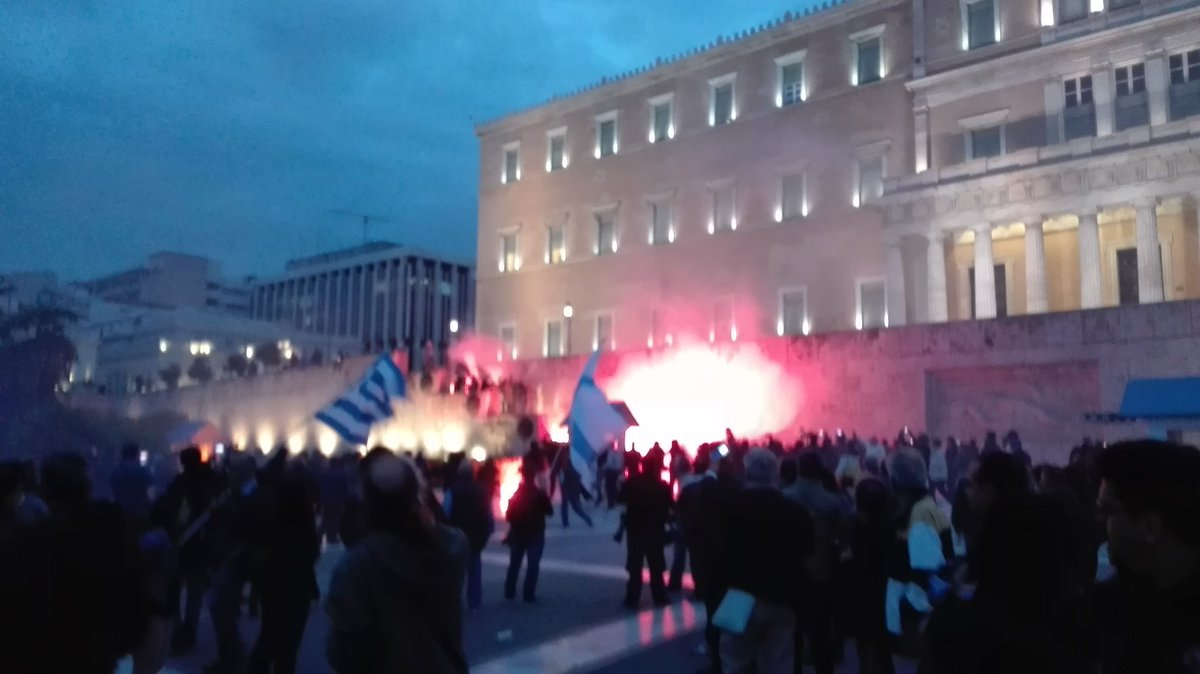 Tear gas and molotov cocktails at Syntagma Square in Athens ahead of austerity vote