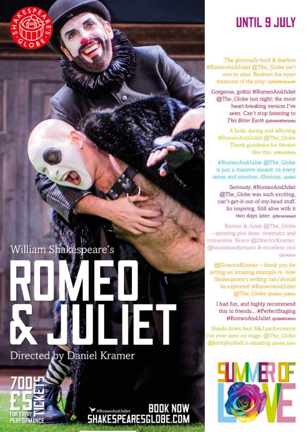 #RomeoAndJuliet @The_Globe until July 9th my loves!! Come to the theatre!! Xx
