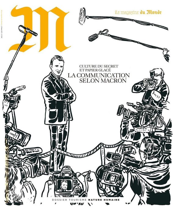 'La communication selon Macron', en couverture de 'M, le magazine du Monde'.