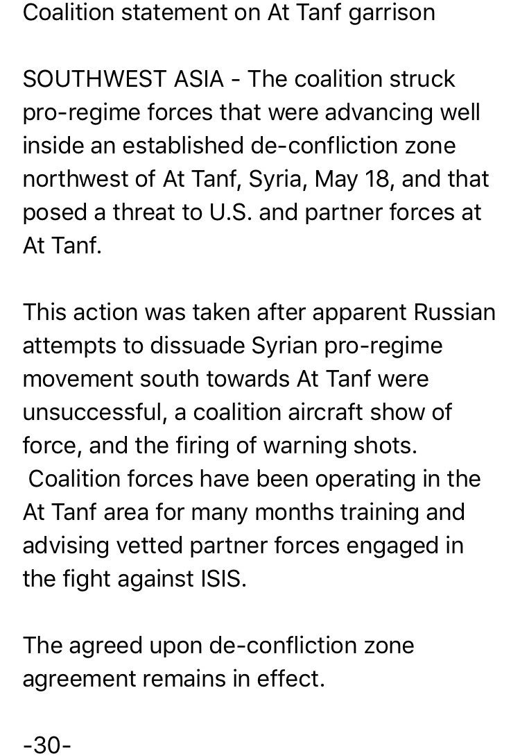 @CJTFOIR: pro-Syria government forces near At Tanf hit for advancing well inside an established de-confliction zone; Russia tried helping