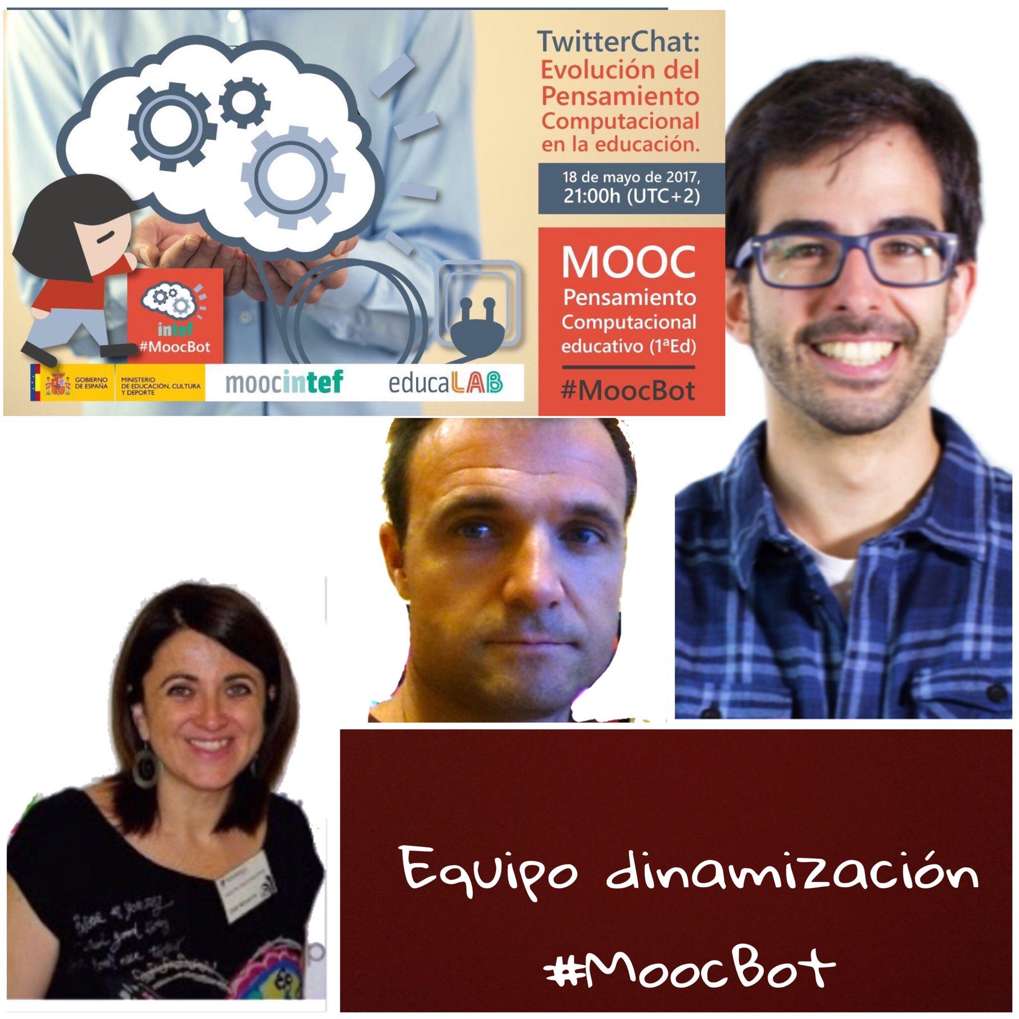 El equipo de dinamización de #MoocBot os da la bienvenida a este Twitterchat os animamos a responder a las preguntas #compartir es #aprender https://t.co/MjfYM3FlQL