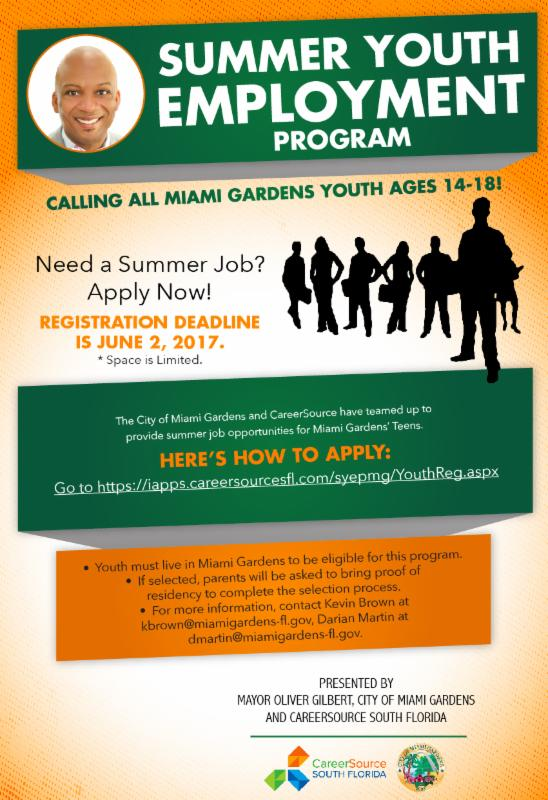 Miami Gardens FLGovt on Twitter Youth Summer Jobs Made Accessible