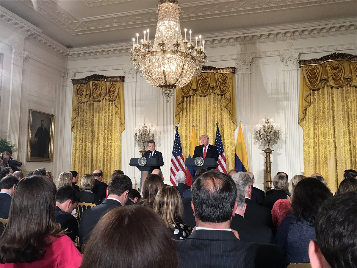 Trump gives joint presser conference with Colombian President Santos -