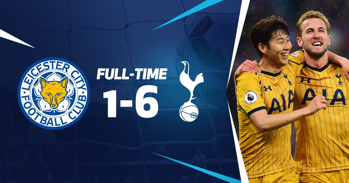 FT: Leicester 1-6 Tottenham Hotspur. Four @HKane goals & two for Son see us run out comfortable winners. Away fans superb throughout. #COYS https://t.co/TC5nY8eDU0