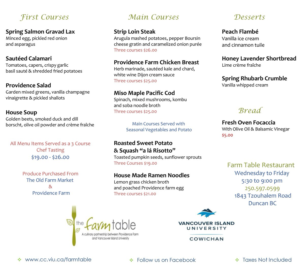 VIU Cowichan On Twitter Check Out The New Farm Table Restaurant - Farm and table reservations