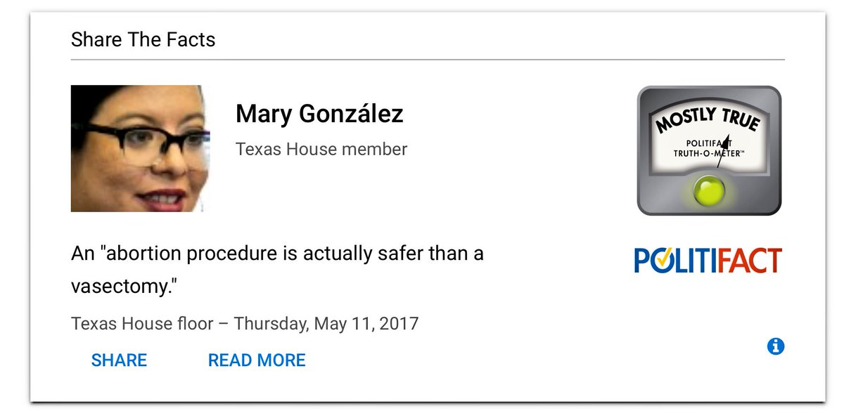 Are abortions safer for women than vasectomies for men? https://t.co/l0fWynYmrb via @PolitiFactTexas #IStandWithPP