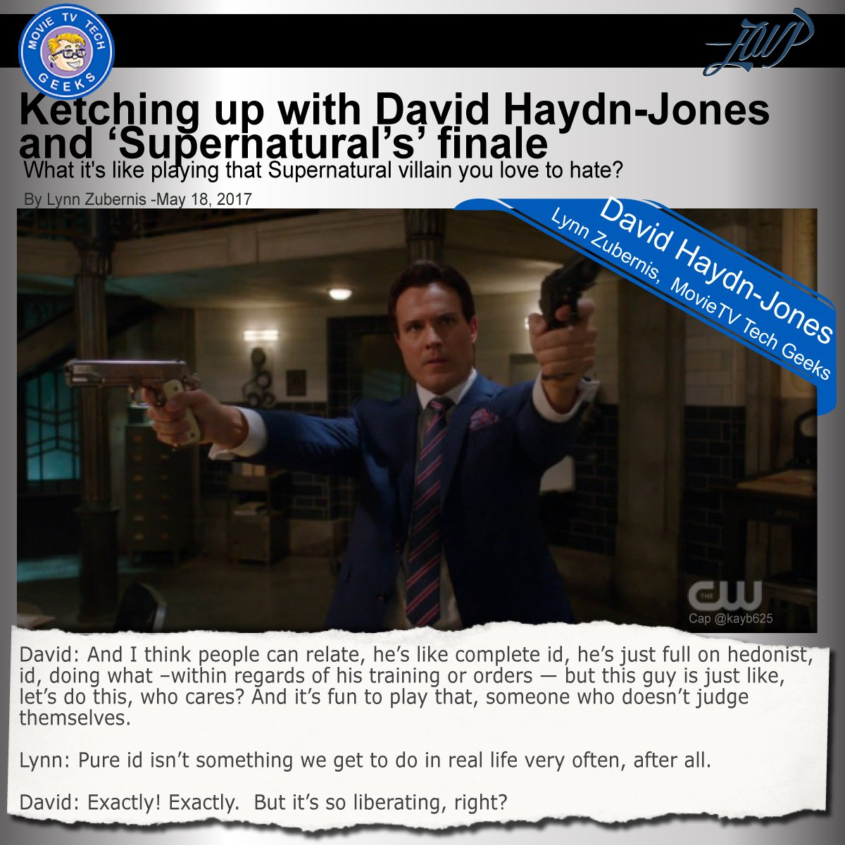After tonight's #supernatural you'll need a lit'l something. Try #LynnZubernis's candid chat w/ @DavidHaydnJones https://t.co/VBAodHz6j2 https://t.co/nWuyDqK3Wy