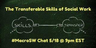30 min. 'til the #MacroSW chat on Transferrable #SocialWork skills: https://t.co/W6K19tM8vz w/ @vlarendt hosts @newsocialworker https://t.co/gRLHwy4GR4