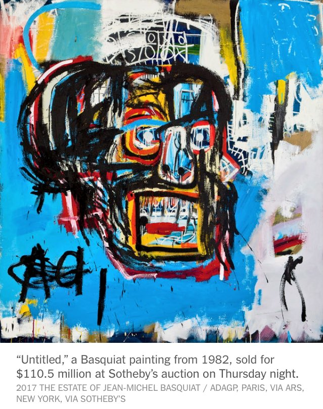 #Basquiat Painting Is Sold for $110.5 Million at Auction, a record for American Artists <br>http://pic.twitter.com/zYTRdethNx