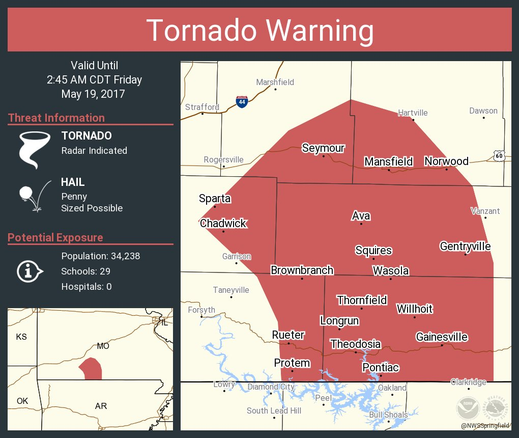 Tornado Warning including Ava MO, Seymour MO, Sparta MO until 2:45 AM CDT
