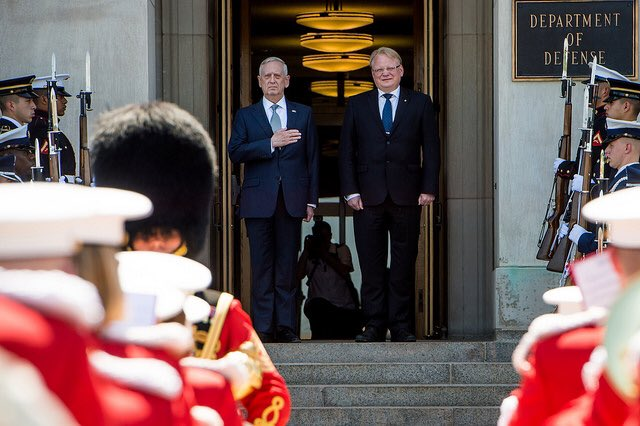 #SecDef Mattis hosted a honor cordon to welcome #Sweden's Minister for Defence Peter Hultqvist to the #Pentagon earlier today. @SwedeninUSA<br>http://pic.twitter.com/TzxLbZKe7o