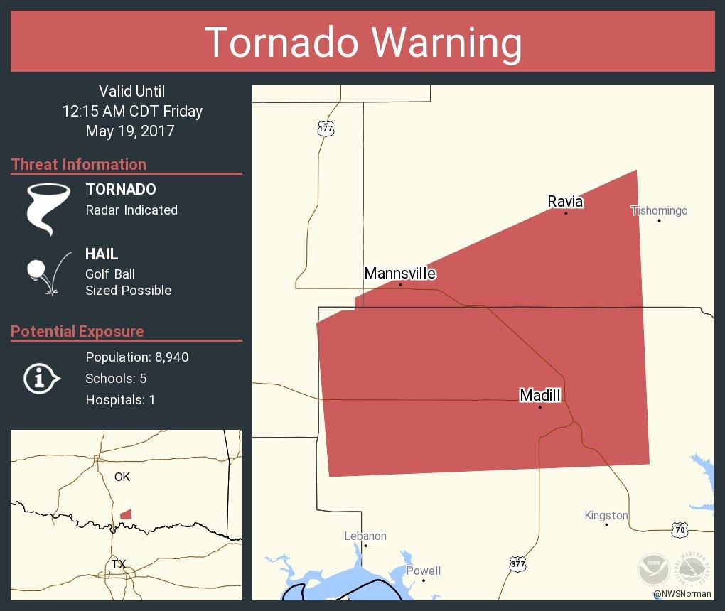 Tornado Warning including Madill OK, Oakland OK, Mannsville OK until 12:15 AM CDT