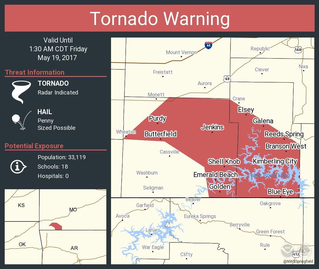 Tornado Warning including Kimberling City MO, Shell Knob MO, Purdy MO until 1:30 AM CDT