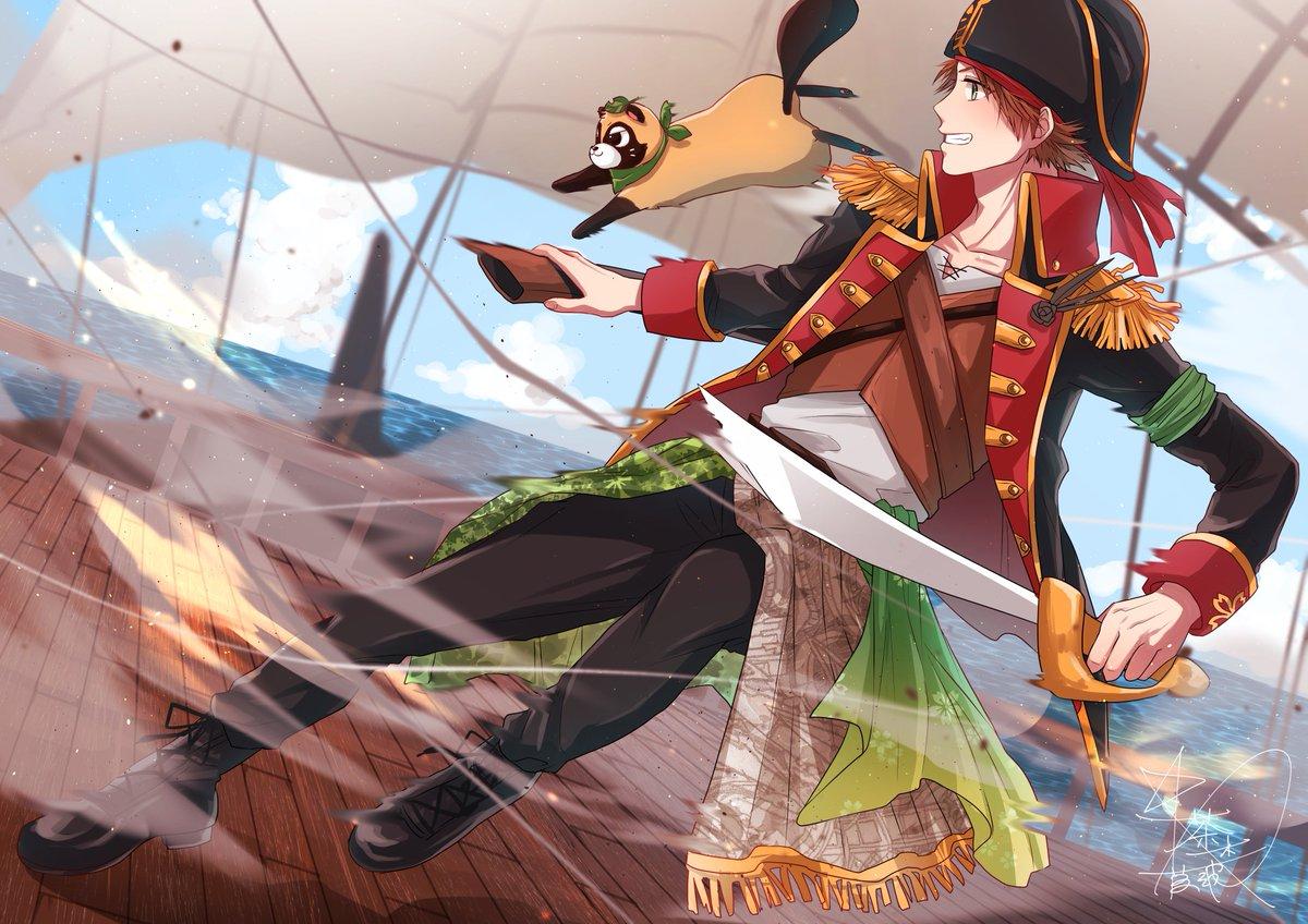 """茶木藍波? on twitter: """"海賊うらたさん!!!? 戦闘シーン? #茶木"""