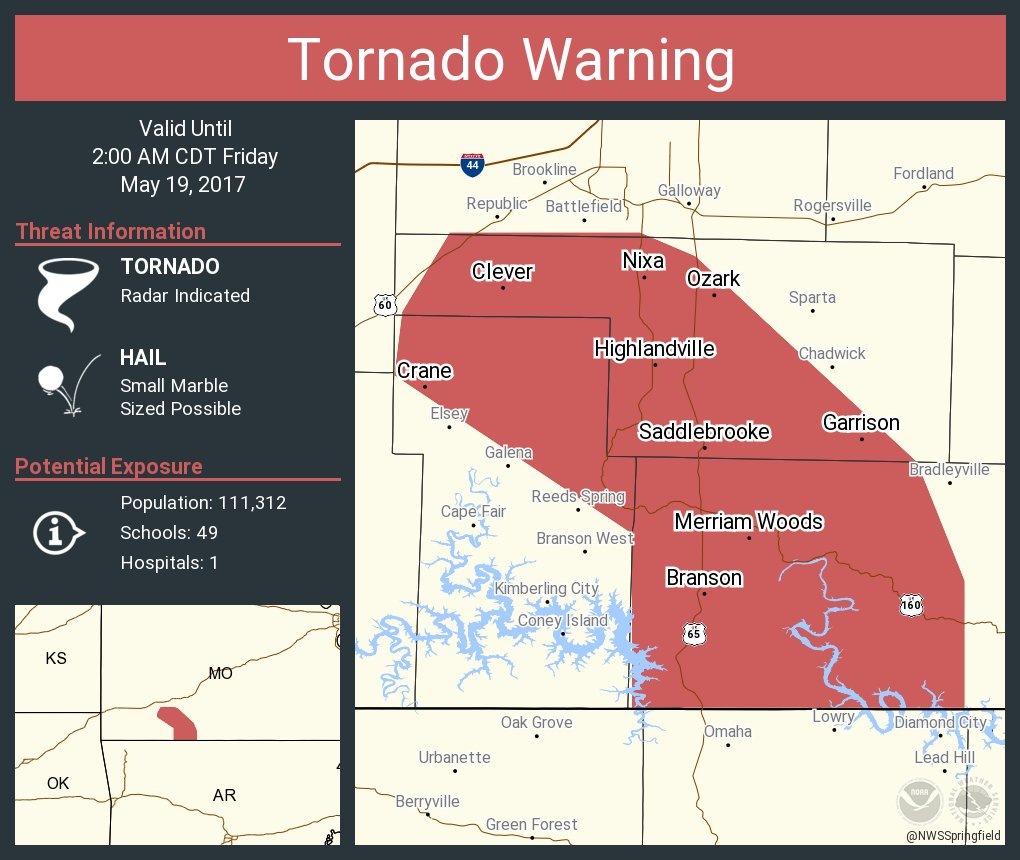 Tornado Warning including Nixa MO, Ozark MO, Branson MO until 2:00 AM CDT