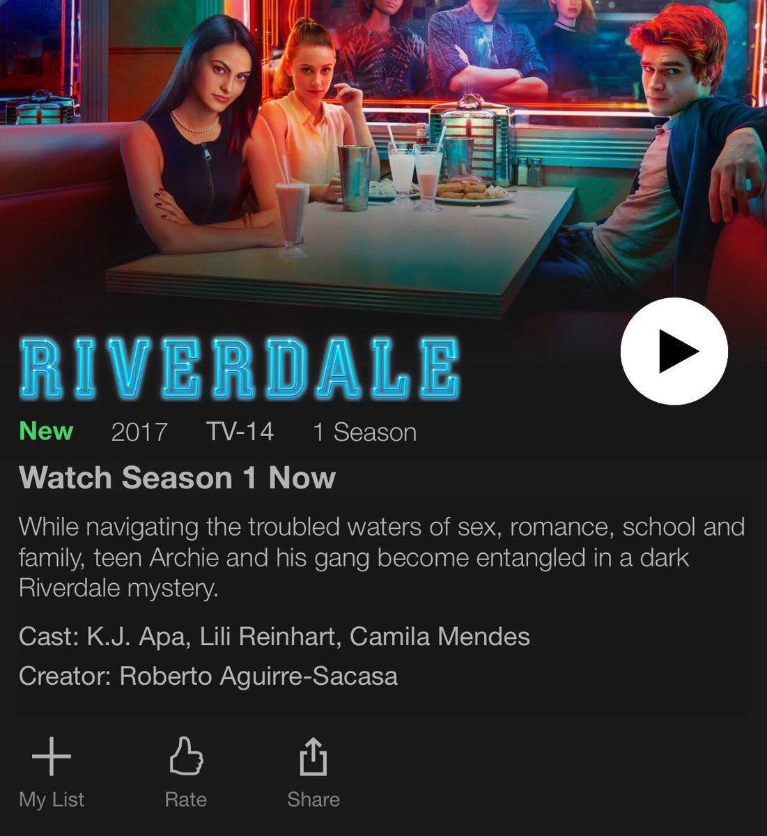 #Riverdale season 1 is officially on Netflix US! RT if you&#39;re watching this weekend @ArchieComics @CW_Riverdale   http:// netflixlife.com/2017/05/19/riv erdale-season-1-now-on-netflix-us/ &nbsp; … <br>http://pic.twitter.com/mCi11VswiR