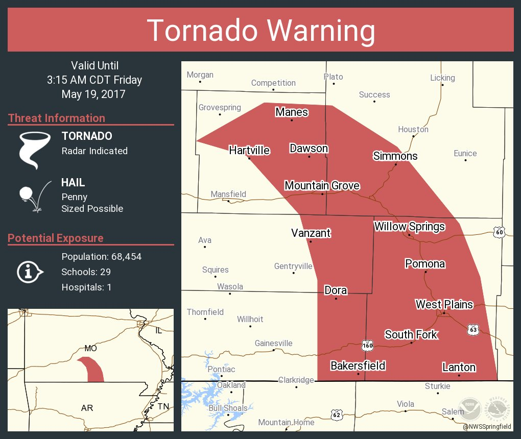 Tornado Warning including West Plains MO, Mountain Grove MO, Willow Springs MO until 3:15 AM CDT