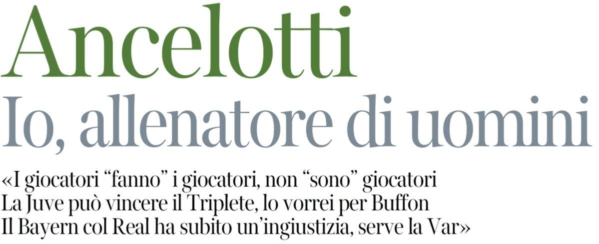 """Corriere della Sera : #Ancelotti """"Moi, entraîneur d'hommes. La Juve peut gagner le Triplé, je le souhaite pour #Buffon"""" (via @capuanogio).pic.twitter.com/Ti4u3yUxWb"""