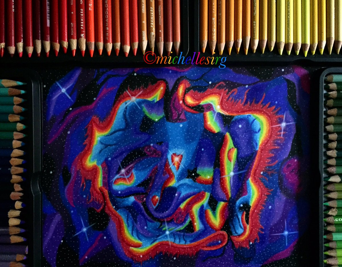 Mich Sirg On Twitter Galaxy Drawing Creative Art Colourful Rainbow Sky Night Artsy Artist Artwork Prisma Prismacolor